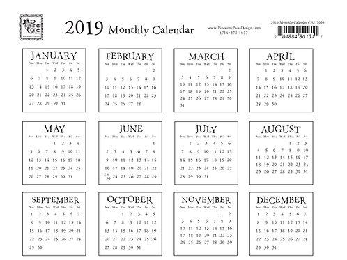 2019 Calendar Download