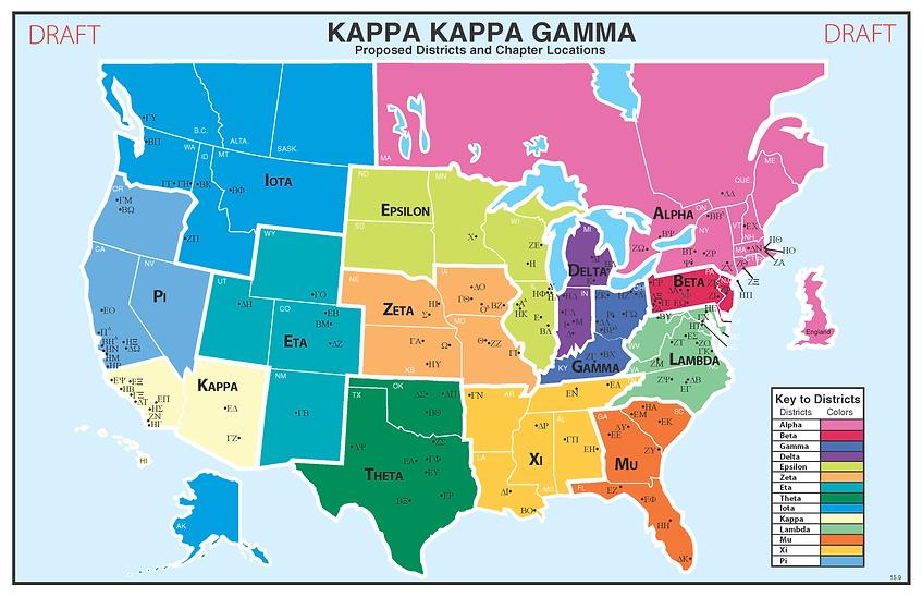 Proposed districts for Kappa Kappa Gamma.