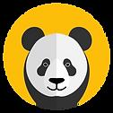 cartoon panda face in a yellow circle.