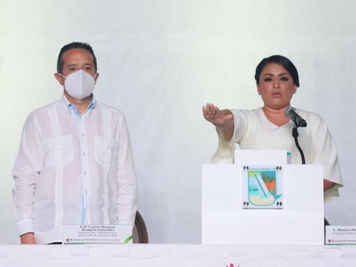 Fortalecer Desarrollo Integral de Puerto Morelos, Compromiso de Blanca Merari al Rendir Protesta