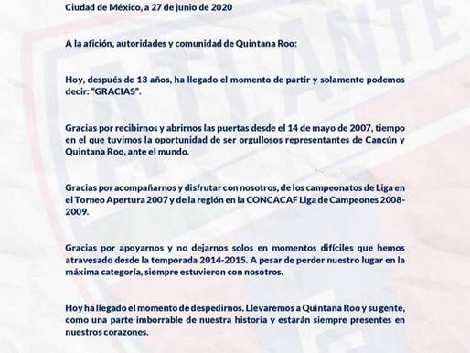 Anuncia la directiva del Atlante su salida de la plaza de Cancun