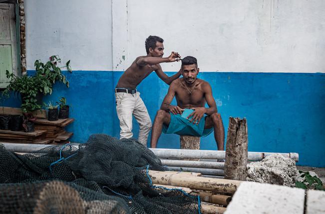 Street haircut, Tual, Indonesia, 2019.
