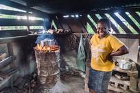 Calisha in her kitchen, Santo Island, Vanuatu, 2019.