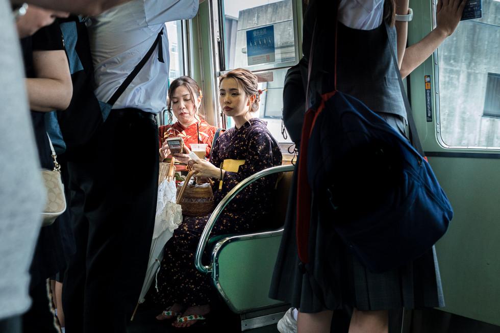 Kimono in the train, Kyoto, Japan, 2018.