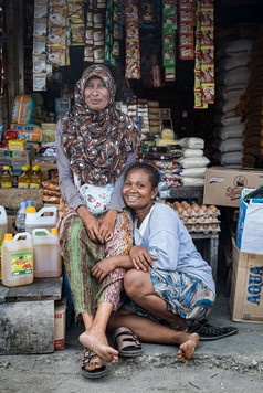 Two friends at the market, Tual, Indonesia, 2019.