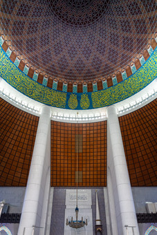Inside the blue mosque, Malaysia, 2020.