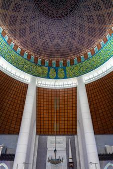 À l'intérieur de la mosquée bleue, Malaisie, 2020.