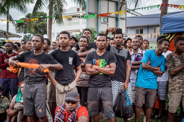 Audience of boxing game, Luganville, Vanuatu, 2019.