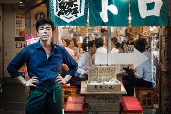 Waiter in front of an izakaya, Tokyo, Japan, 2018.