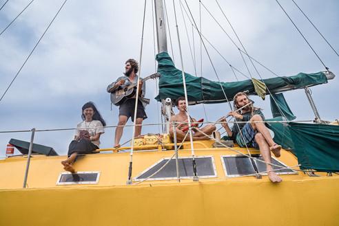 Singing on Tambu the Banana boat, Vanuatu, 2019.