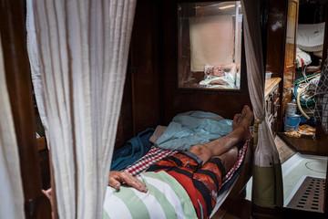 Sleeping captain, Coral Sea, 2019.