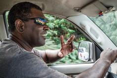 Solomon in his taxi, Luganville, Vanuatu, 2019.