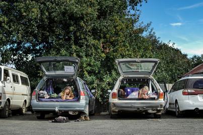 Vivre sur le parking, Tasmanie, Australie, 2018.