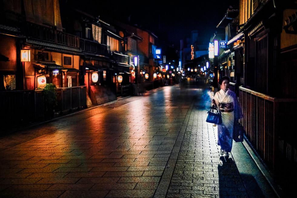 Hanamikoji Dori atmosphere, Gion, Kyoto, Japan, 2018.