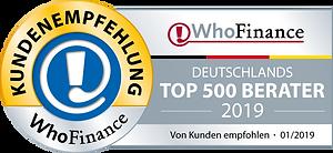 WhoFinance Kundenempfehlung - TOP 500 Berater Deutschland 2019