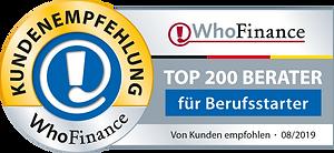 WhoFinance Kundenempfehlung - TOP 200 Berater für Berufsstarter 2019