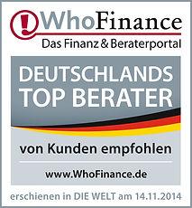 WhoFinance Kundenempfehlung - TOP Berater Deutschland 2014