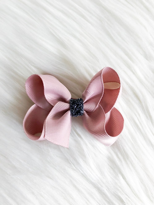Antique Pink w/ Charcoal Stardust Bow (Set of 2)