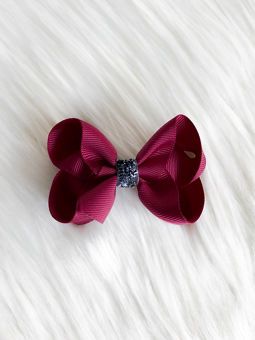Maroon w/ Charcoal Stardust Bow (Set of 2)