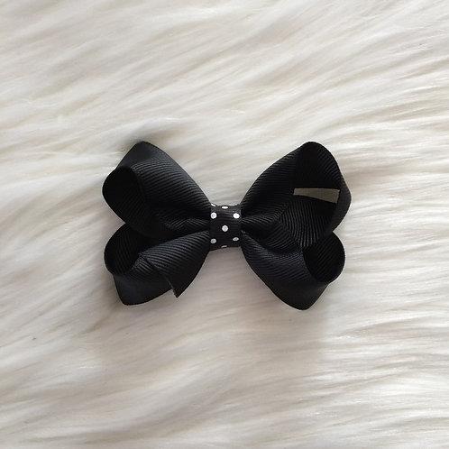 Noir Polkadot Bow
