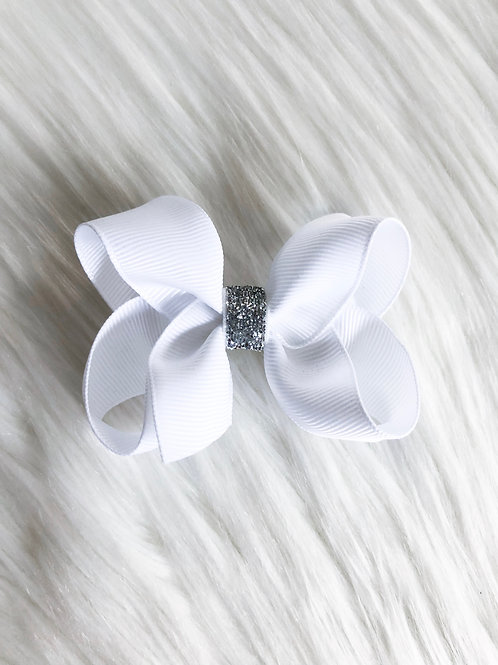 White Silver Stardust Bow (Set of 2)