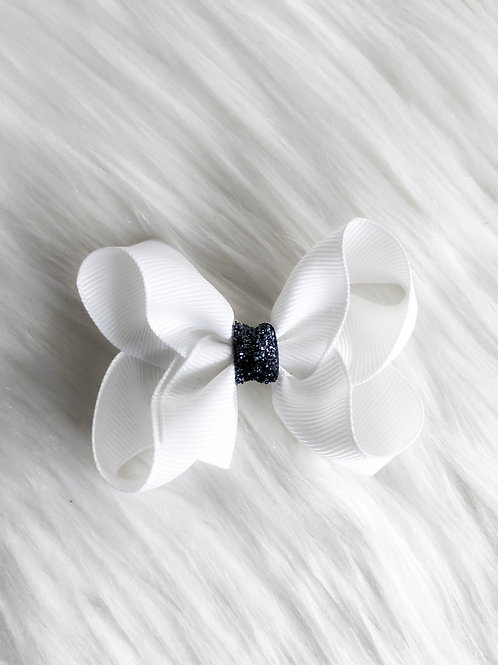 White w/ Charcoal Stardust Bow (Set of 2)