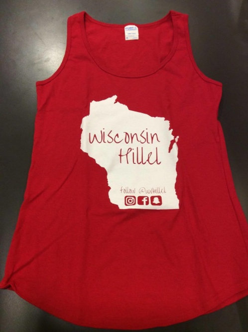 Wisconsin Hillel with State of Wisconsin Tank Top (Red)