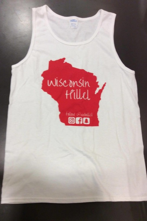 Wisconsin Hillel with State of Wisconsin Tank Top (White)