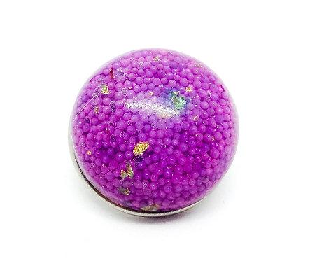Bouton-pression billes violettes et feuilles d'or 18mm