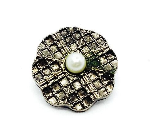 Bouton-pression petite perle blanche 18mm