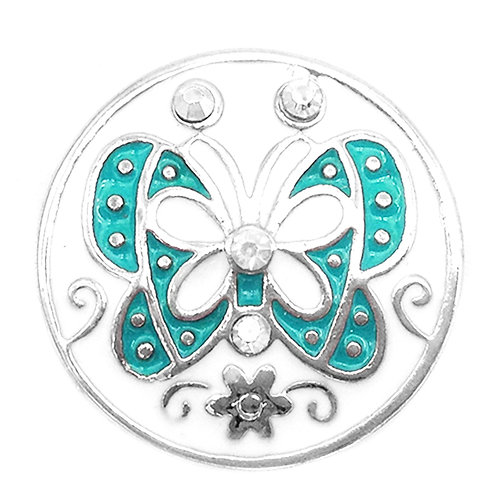 Bouton-pression papillon vert et blanc MN2003 18mm