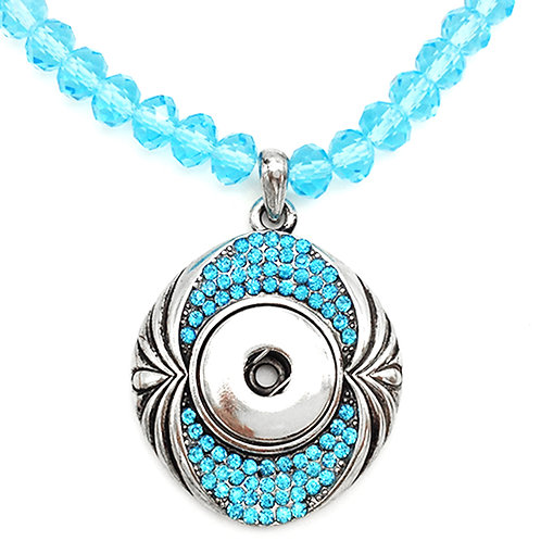 Collier bouton-pression perles et strass bleu 18mm