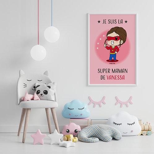 Affiche - Super Maman personnalisée