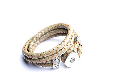 Bracelet bouton-pression double tour cuir tressé 18mm