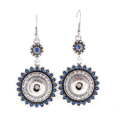 Boucles d'oreilles avec strass et petites perles bleues 12mm