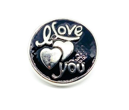 Bouton-pression I love you noir KC6105 18mm