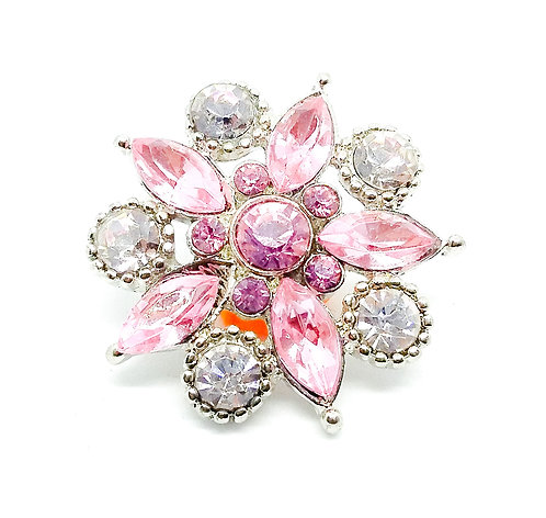 Bouton-pression strass rose 6 18mm