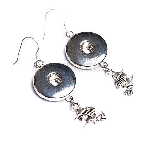 Boucles d'oreilles boutons-pression sorcière 18mm