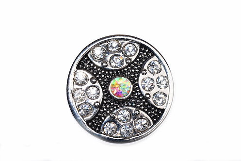 Bouton-pression argenté strass blancs 18mm