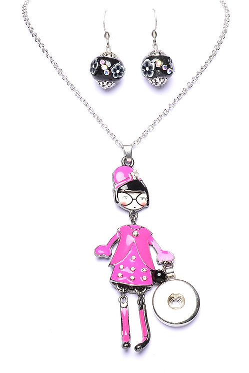 Collier bouton-pression MADAME rose 18mm