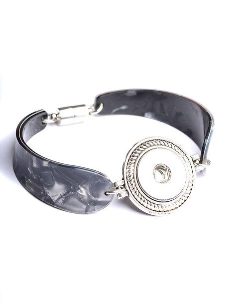 Bracelet bouton-pression gris 18mm