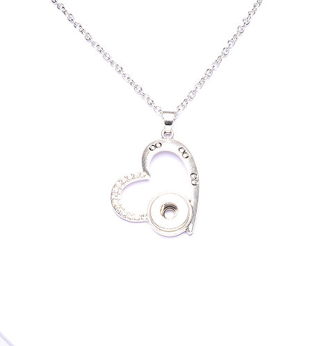 Collier bouton-pression coeur strass 12mm