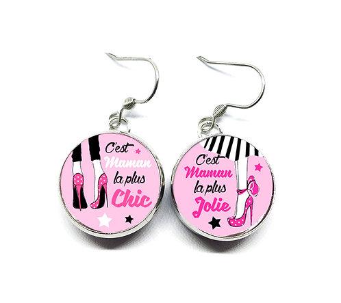 """Boucles d'oreilles """"Pink"""" bouton-pression 18mm"""