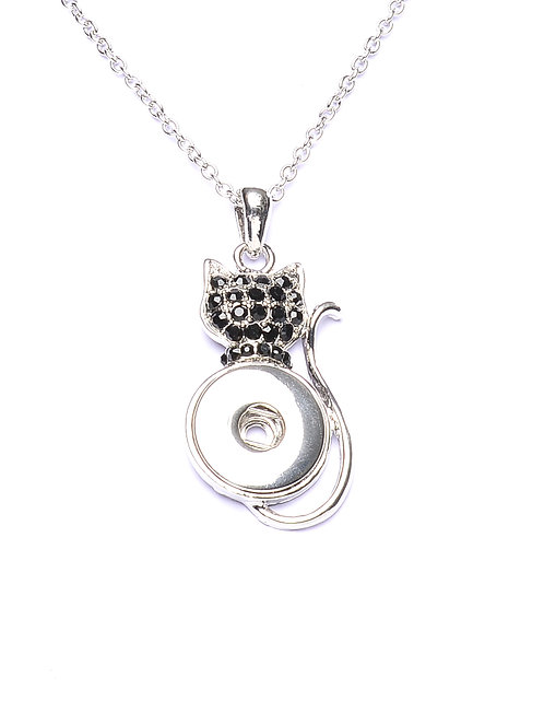 Collier bouton-pression chat strass noir 18mm