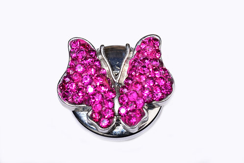 Bouton-pression papillon strass rose 18mm
