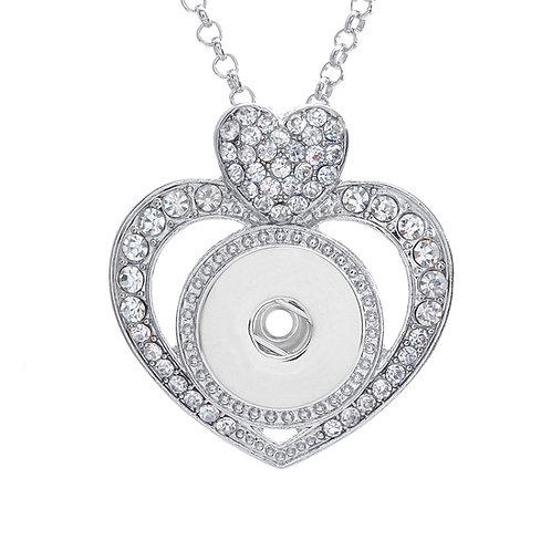 Collier sautoir bouton-pression coeur diamanté 12mm