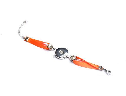 Bracelet bouton-pression ruban satin orange