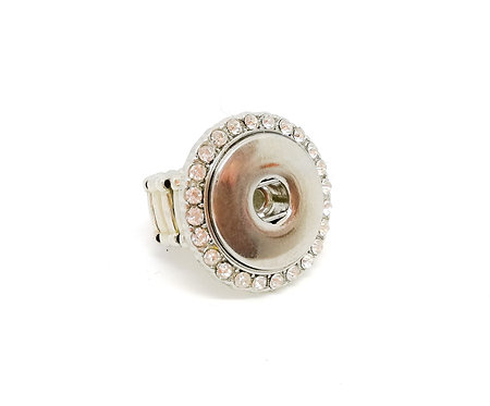 Bague bouton-pression strass blanc KB0528 18mm