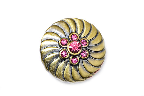 Bouton-pression bronze 7 strass rose 18mm