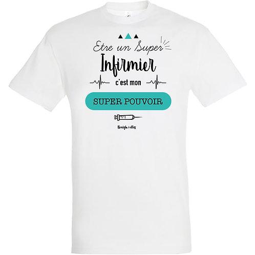 T-shirt - Super Infirmier blanc